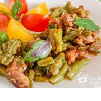 Салат из свинины и спаржи